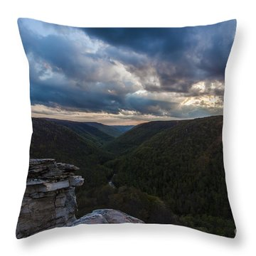 Sunset At Blackwater Falls State Park Throw Pillow by Amber Kresge