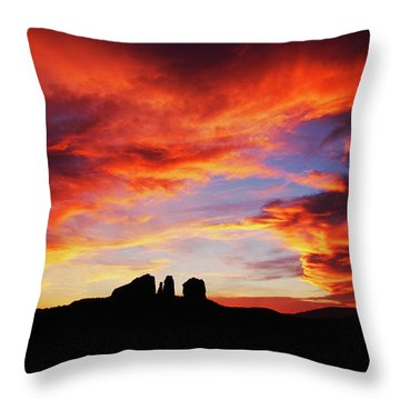 Sunset At Cathedral Throw Pillow by Tom Kelly