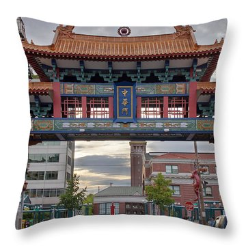 Throw Pillow featuring the photograph Sunset At Chinatown Gate In Seattle Washington by JPLDesigns