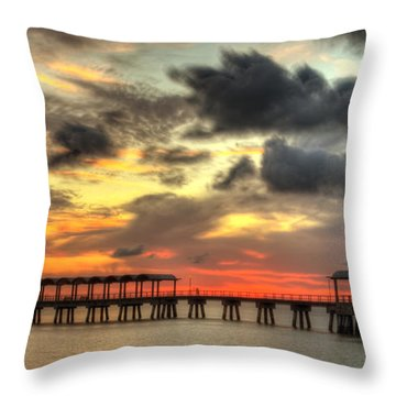 Sunset At Clam Creek Fishing Pier Throw Pillow