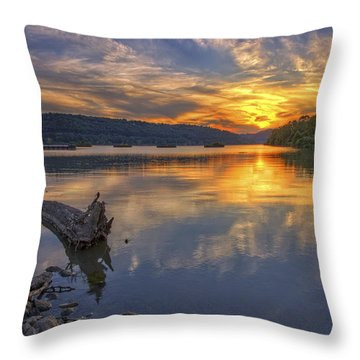 Sunset At Cook's Landing - Arkansas River Throw Pillow