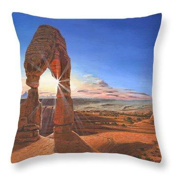 Sunset At Delicate Arch Utah Throw Pillow by Richard Harpum