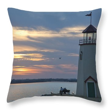 Sunset At East Wharf Throw Pillow