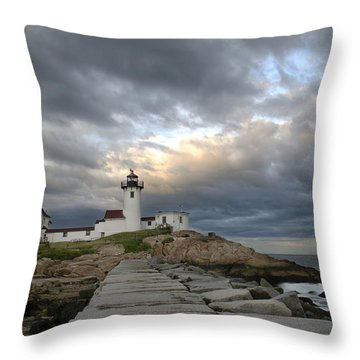 Sunset At Eastern Point Lighthouse Throw Pillow