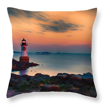 Sunset At Fort Pickering Lighthouse Throw Pillow by Jeff Folger