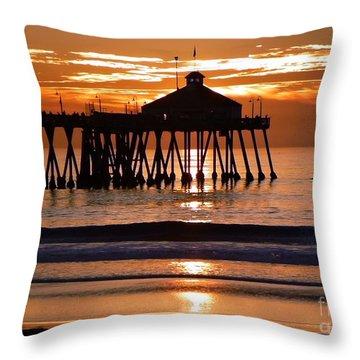Sunset At Ib Pier Throw Pillow by Barbie Corbett-Newmin