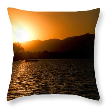 Sunset At Kunming Lake Throw Pillow