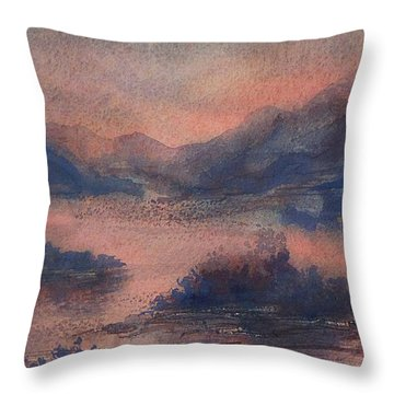Throw Pillow featuring the painting Sunset At Lake Champlain by Joy Nichols