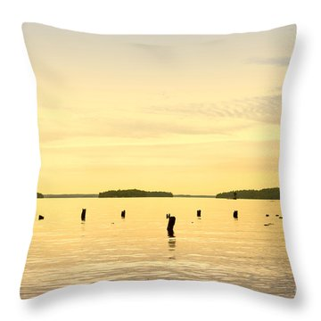 Throw Pillow featuring the photograph Sunset At Lake Muskoka by Les Palenik
