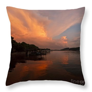 Sunset At Lake Of The Ozarks Throw Pillow by Dennis Hedberg