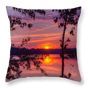 Sunset At Loch Raven Throw Pillow