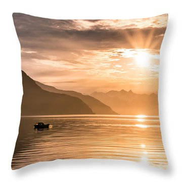 Sunset At Lyngenfjord Throw Pillow by Janne Mankinen