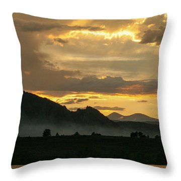 Smokey Sunset At Marshall Lake Throw Pillow