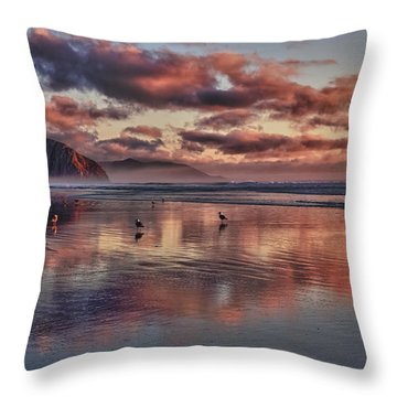 Sunset At Morro Strand Throw Pillow