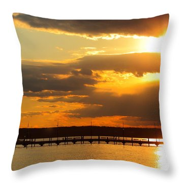 Sunset At National Harbor Throw Pillow
