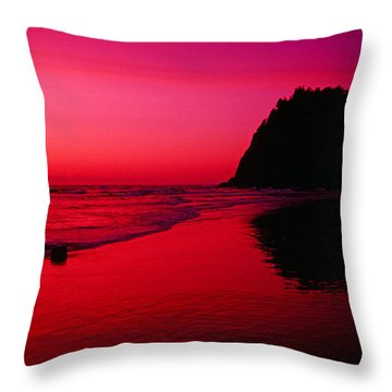 Sunset At Neskowin Beach- Proposal Rock Throw Pillow