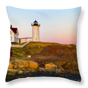 Sunset At Nubble Lighthouse Throw Pillow