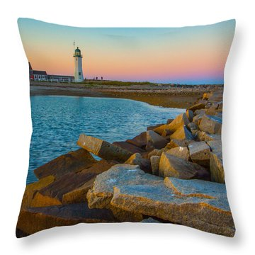 Sunset At Old Scituate Lighthouse Throw Pillow