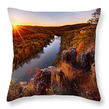 Sunset At Paint-rock Bluff Throw Pillow
