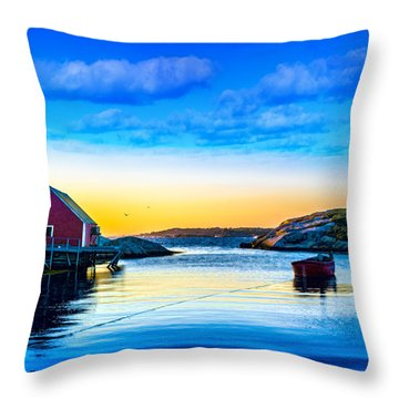 Sunset At Peggy's Cove  Throw Pillow