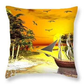 Sunset At Pirates Cove Throw Pillow by Jacqueline Lloyd
