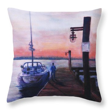 Throw Pillow featuring the painting Sunset At Rocky Point by Sher Nasser