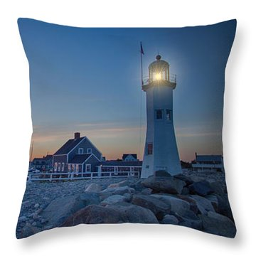 Sunset At Scituate Light Throw Pillow