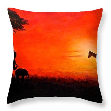 Throw Pillow featuring the painting Sunset At Serengeti by Sher Nasser