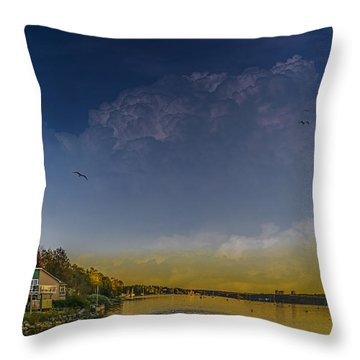 Sunset At Shore Drive Throw Pillow by Ken Morris