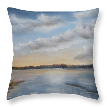 Throw Pillow featuring the painting Sunset At Sparta Lake New Jersey by Katalin Luczay