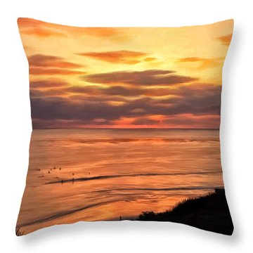 Sunset At Swami's Encinitas Throw Pillow by Michael Pickett