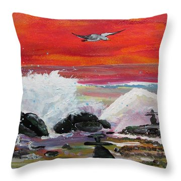 Sunset At The Bay Throw Pillow