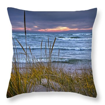 Sunset On The Beach At Lake Michigan With Dune Grass Throw Pillow