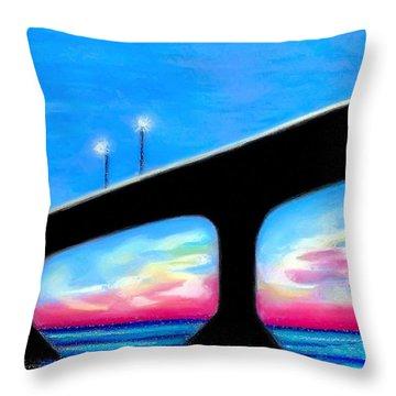 Sunset At The Bridge Throw Pillow