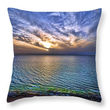 Sunset At The Cliff Beach Throw Pillow