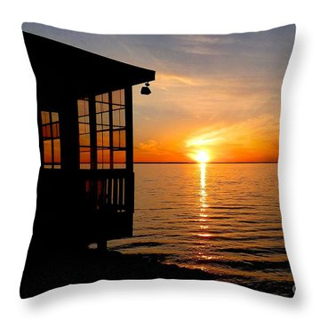 Sunset At The Crab Shack Throw Pillow
