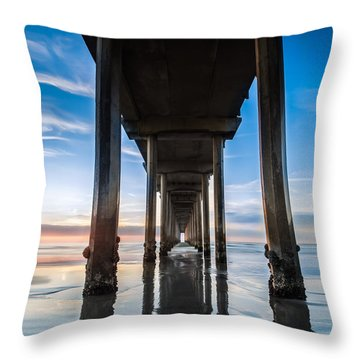 Sunset At The Iconic Scripps Pier Throw Pillow