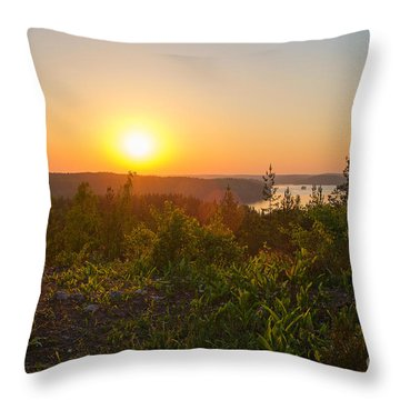 Sunset At The Lake Hiidenvesi Throw Pillow