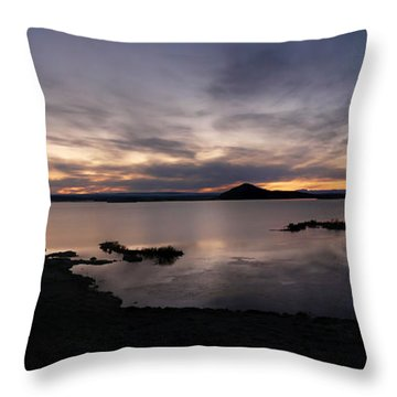 Sunset Over Lake Myvatn In Iceland Throw Pillow