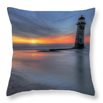 Sunset At The Lighthouse V3 Throw Pillow by Ian Mitchell