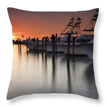 Sunset At The Pelican Yacht Club Throw Pillow