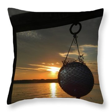 Sunset At The Pier Throw Pillow by Jean Goodwin Brooks