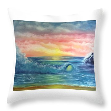 Sunset At The Seashore  Throw Pillow