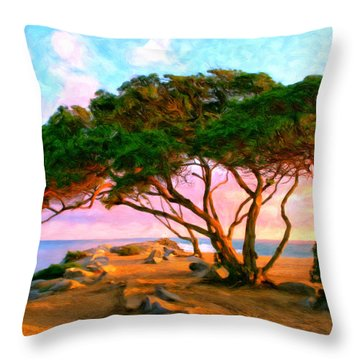 Sunset At The Wedge In Newport Beach Throw Pillow