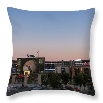 Sunset At Turner Field Throw Pillow by Tom Gort