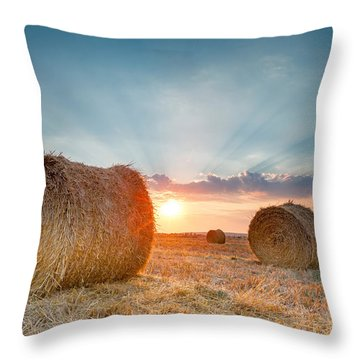 Sunset Bales Throw Pillow