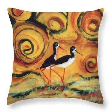 Throw Pillow featuring the painting Sunset Ballet by Anna Skaradzinska