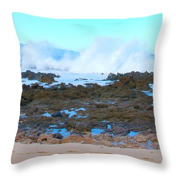 Sunset Beach Crashing Wave - Oahu Hawaii Throw Pillow by Brian Harig