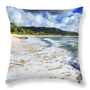 Sunset Beach Foamy Shoreline Throw Pillow