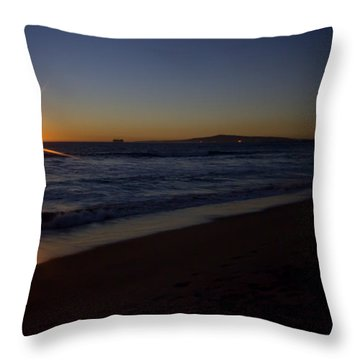Sunset Beach Throw Pillow by Heidi Smith